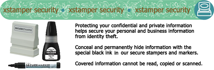 Conceal your private information and help protect yourself from identity theft by stamping over or marking out your sensitive information like signatures, names, credit card numbers, return offer codes, and addresses PERMANENTLY.