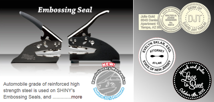 Looking for seal embossers and presses? Find custom pocket-sized seal embossers and presses as part of the Shiny brand at the EZ Custom Stamps Store.