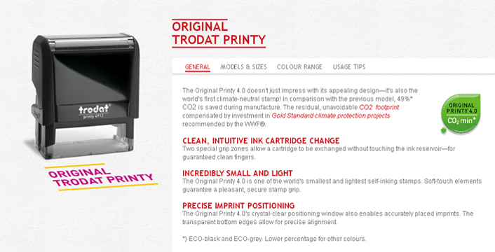 The Original Printy 4.0 doesn't just impress with its appealing design, it's also the world's first climate-neutral self inking stamp! Compared to its previous model, 49%* CO2 is saved during manufacture.