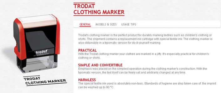 Looking for clothing and textile markers? The Trodat Clothing Marker is perfect for marking textiles and clothes. Find it at The EZ Custom Stamps Store.