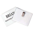 Shop engraved plate name badges with pocket holder backings on the EZ Custom Stamps store. Our laser engraved name badges include a variety of color combinations and include a beveled edge.