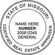 Looking for Certified Real Estate Appraiser Professional Stamps for the state of Missouri? Shop for Custom official Missouri Certified Real Estate Appraiser Stamps here.
