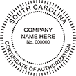 Looking for a Certificate of Authorization stamp for the state of South Carolina? Purchase your customizable authorization seal stamp here at the EZ Custom Stamps store.