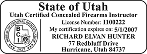 Need a custom stamp for a certified concealed firearms instructor in Utah? Shop the EZ Custom Stamps store today for custom products available in several mount options.