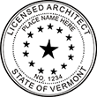 Need a licensed architect professional stamp for the state of Vermont? Shop this official Licensed Architects Professional Stamp at the EZ Custom Stamps store.