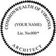 Need a architect professional stamp for the state of Virginia? Shop this official Commonwealth Architects Professional Stamp at the EZ Custom Stamps store.