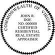 Looking for a residential real estate appraiser stamp for the state of Virginia? Find your occupation stamp on the EZOP Custom Stamps store today.