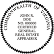 Looking for a real estate appraiser stamp for the state of Virginia? Find your occupation stamp on the EZ Custom Stamps store.