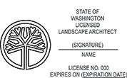 Need a landscape architect stamp? Buy this horizontal Washington licensed landscape architect stamp at the EZ Custom Stamps Store.