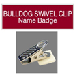 Our laser engraved name badges with bulldog swivel clip backing include a variety of color combinations and include a beveled edge. Design your own customized name tag for your team here.