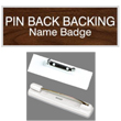 Shop for engraved plate with logo name badges that include pin back fasteners here. Design your own name badge or choose from our selection of color combinations.