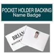 Shop engraved plate with logo name badges that include a pocket holder backing. Perfect for your business, these name badges come in a variety of color combinations.