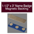 "Find name badges with magnetic backs at EZ Custom Stamps. Our laser-engraved 1-1/2"" by 3"" name badges have a variety of colors and a beveled edge."