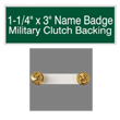 "Looking for name badges with military clutch backing? Find these 1-1/4"" by 3"" custom badges on the EZ Custom Stamps store today."