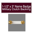 "Looking for name badges with military clutch backing? Find these 1-1/2"" by 3"" custom badges on the EZ Custom Stamps store today."