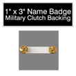 "Looking for name badges with military clutch backing? Find these 1"" by 3"" custom badges on the EZ Custom Stamps store today."