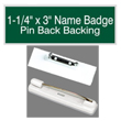 "Find name badges with pin backs at EZ Custom Stamps. Our laser-engraved 1-1/4"" by 3"" name badges have a variety of colors and a beveled edge."