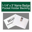 "Find name badges with pocket holder backings at EZ Custom Stamps. Our laser-engraved 1-1/5"" by 3"" name badges have a variety of colors and a beveled edge."