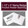 "Looking for name badges with pocket holder backings? Find 1-1/2"" by 3"" custom name badges on the EZ Custom Stamps store today."