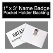"Find 1"" by 3"" name badges with pocket holder backing on the EZ Custom Stamps store. Our laser-engraved name badges have a variety of colors and a beveled edge."