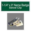 "Looking for name badges with bulldog swivel clip backing? Find these 1-1/4"" by 3"" custom badges on the EZ Custom Stamps store today."