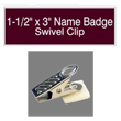 "Looking for name badges with bulldog swivel clip backing? Find these 1-1/2"" by 3"" custom badges on the EZ Custom Stamps store today."