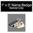 "Looking for name badges with bulldog swivel clip backing? Find these 1"" by 3"" custom badges on the EZ Custom Stamps store today."