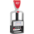 "Cosco 2000 Plus 011034 is a two-color dater makes tracking incoming paperwork easy by stamping the word, RECEIVED, in blue and the date in red. Below the date, the impression also prompts you to write who received the documentation with the word ""BY""."