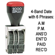 Cosco 2000 Plus 4 band rubber dater. This dater portrays a variety of different phrases including: A.M., P.M., ANS'D, ENTR'D, PAID and REC'D.  EZ Custom Stamps | (608) 310-4300.