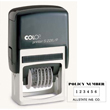 "Cosco Plus S226/P is a self-inking custom stamp with six (6) line numberer. Type size #1 and character height of 5/32"". This self-inking stamp does not require a separate ink pad."