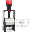 Find a self-inking stamp dater on the EZ Custom Stamps store. This 2000 Plus Classic Line 2360 is a heavy duty stamper with 1 ink color and 4 lines of customization.