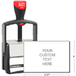 """Cosco 2000 Plus 2800 Heavy Duty Metal Self-Inking custom stamp for repeat stamping. Steel and aluminum frame provides the ultimate in durability. Customize up to 10 lines in an impression size of 2"""" x 2-3/4"""". Choose stamp ink color."""