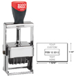 "Cosco 2000 Plus 3360 Expert Line heaviest duty all-steel metal self-inking custom dater stamp designed for industrial use. Solid industrial full-metal self-inking die plate dater. Impression size: 1"" x 1-5/8"""