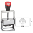 "Cosco 2000 Plus 3660 Expert Line heaviest duty all-steel metal self-inking custom dater stamp designed for industrial use. Solid industrial full-metal self-inking die plate dater. Impression size: 1-1/2"" x 2-5/16"""