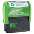 This eco-friendly self-inking stamp printer from the 2000 Plus P40 Green Line is perfect for the workplace. Create stamps with this vertical printer for up to 5,000 impressions per pad.