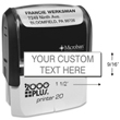 The Cosco 900 Plus P20 Line stamp is the perfect personalized self-inking stamp for an address or return address stamp. Shop EZ Custom Stamps or call (608) 310-4300.