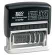 Cosco 2000 Plus Printer S-140/WD (011090) Micro Message Dater is a self-inking date stamp with 12 phrases that can be used with or without the date. The dater has four bands for month, day, and six-years. It is a stock stamp with no need to customize.