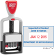 "Cosco 2000 Plus S-360 Office Line Plastic Self-Inking Dater, Dater is able to be customized with up to four lines of text. Impression size is 1-1/4"" high x 1-13/16"", 4 Bands in red date and blue text"