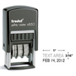Looking for custom date stamp? The Trodat 4850 self-inking date stamp allows up to 1 line of customization above date. Fast Shipping