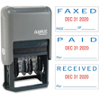 This 2-color red and blue self-inking stamp dater prints the month, day, and year and includes optioned for Faxed, Paid, or Received.
