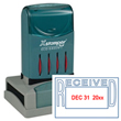 "This 2-color red and blue self-inking Xstamper stamp dater prints the month, day, and year in red and ""received"" in blue."