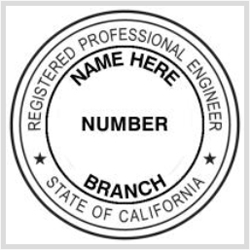 State Of California Official Registered Professional Engineer Stamp 1 5 8 1625 Round