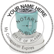 Looking for an Alaska notary stamp? This Xstamper round N53 model is eco-friendly with over 50% recycled content and carries a lifetime guarantee.