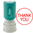"Round ""THANK YOU"" stamp, pre-inked for 100,000 impressions and re-inkable with Xstamper refill ink. Retractable frame keeps ink away from surfaces. Impression size: 5/8"" round"