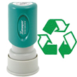 "Looking for a ""Recycled"" message stamper for the office? This green round Xstamper 11417 is a smaller size for office document convenience."
