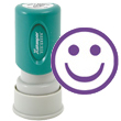 "A stamp that makes them smile and put on a happy face! Purple ""Happy Face"" stamp is pre-inked for 100,000 impressions and re-inkable with Xstamper refill ink. Retractable frame keeps ink away from surfaces. Impression size: 5/8"" round"