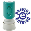 "Looking for an ""Entered"" message stamper for the office? This circular blue Xstamper 11423 is a smaller size for office document convenience."