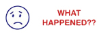 "Two-Color Title Stamp 1/2"" x 1-5/8"" - Includes ""What Happened"" in red text and Sad Frown Face in blue."