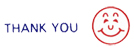 "Two-Color Title Stamp 1/2"" x 1-5/8"" - Includes ""Thank You"" in blue text and Smiley Face in red."