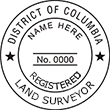 Looking for land surveyor stamps? Shop our District of Columbia registered land surveyor stamp at the EZ Custom Stamps Store. Available in several mount options.